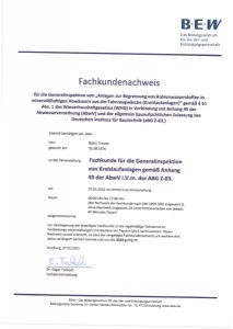Fachkundenachweis für die Generalinspektion von Kreislaufanlagen