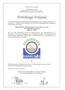 Verleihungs-Urkunde Gütezeichen RAL Kanalbau