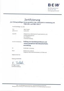 Zertifizierung BEW